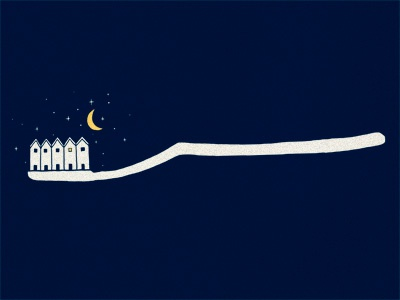 Brush your teeth before bed illustration ilovedoodle lim heng swee print poster art humor fun smile doodle wall display wall deco teeth tooth brush good night moon stars