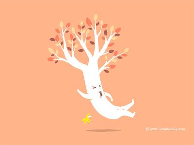 Fall fall autumn tree leaf banana fun humor smile design art doodle t-shirt poster print ilovedoodle lim heng swee