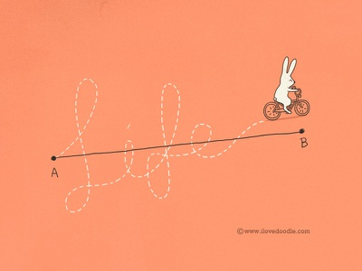 My Way my way path life meaningful cute rabbit bicycle bike point journey doodle art design print illustration project ilovedoodle lim heng swee