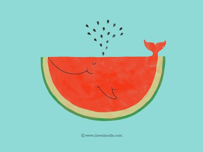 Whalemelon whale watermelon fun design illustration animal fish fruit doodle poster print t-shirt ilovedoodle. lim heng swee