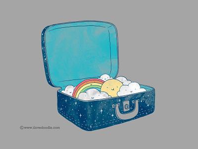 Always Bring Your Own Sunshine luggage travel weather sunshine happy sun rainbow illustration poster print t-shirt fun smile warm
