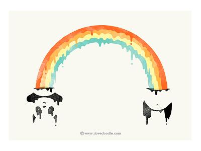 Colorful Inside panda rainbow colorful attitude