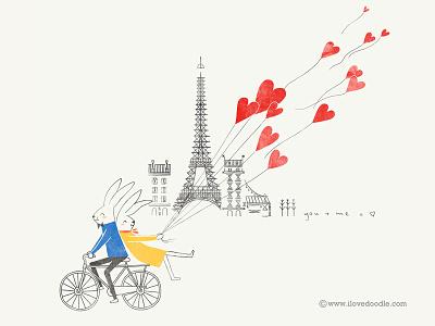 Love Around The World @Paris paris love valentine eiffel tower balloons heart bicycle bike rabbit bunny romantic cute