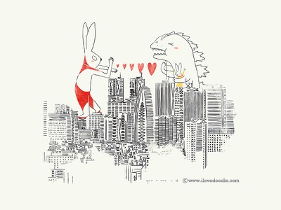 Love Around The World @Tokyo tokyo love hero bunnies rabbit godzilla city print poster wall deca ultraman