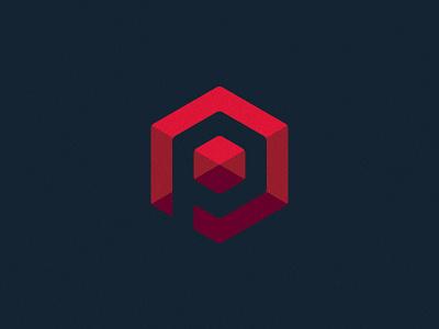 P Gem p gem logo red blue icon hexagon geometric