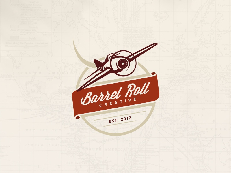 Barrel Roll Creative Logo plane vintage badge logo banner