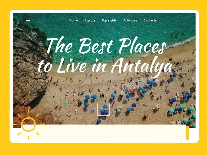 Antalya City Landing Page web design website sun antalya turkey landing page design dailyui 001 web ui ux dailyui city guide landingpage