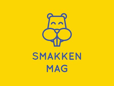Smakken Mag Logo Dribbble logo flat blue yellow illustration minimal hamster debut ui