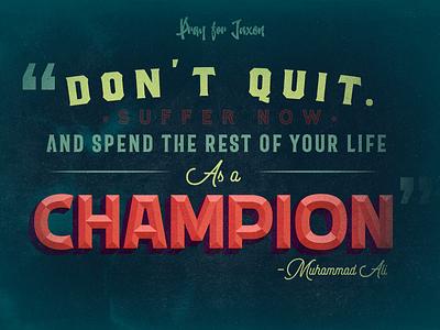 Champion muhammad ali typography