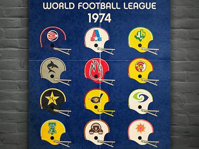 World Football League 1974 branding retro print vintage helmet poster world football league wfl defunct vector logo design football