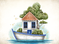 Boat and Home editorial illustration editorial storybook sea home boat children book illustration childrens book illustration