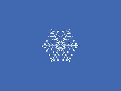 Snowflake color white minimal vector winter blue icon symbol tech snowflake
