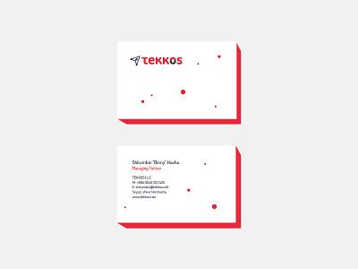 Tekkos Business Card minimal mockup vector red dots brand branding logo business card