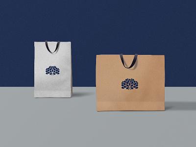 Dahlia Branding flower silver blue paperbag mockup branding logo