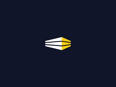 Logo Design minimal lines white yellow blue light building brand icon logo