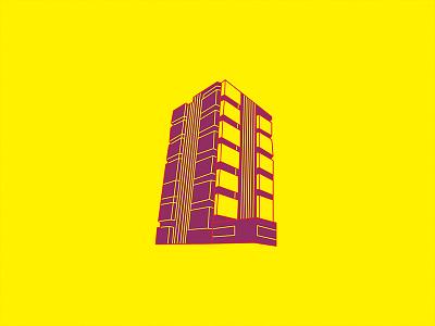 K2.0 Magazine Illustration print architecture building icon graphic lines purple yellow editorial magazine illustration