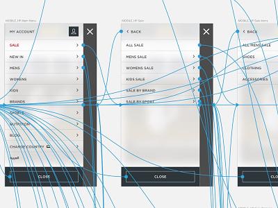Mobile Nav Wireframes nav menu mobile ui ux wireframes