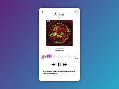 Daily UI 009 - Music Player itunes lyrics amber 311 music ui daily daily ui music player