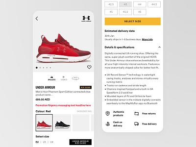 product landing page ui ux jasonangeles shoes sports fashion product page mobile app ui  ux app e-commerce ecommerce pdp