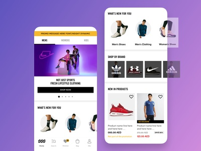 App home page e-commerce fitness brand lifestyle fashion sports daily ui mobile user experience design ui ux app ecommerce