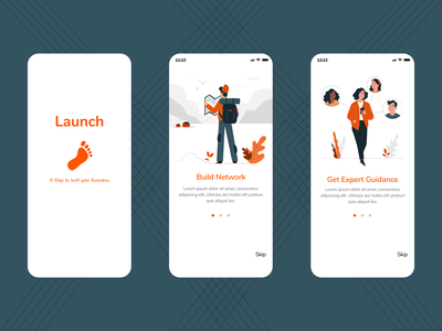 Launch - A step to start your business app ui ux design illustration