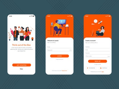Launch - A Step to start your Business icon typography ux ui illustration design app