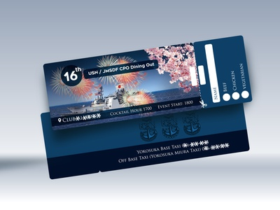 USN / JMSDF CPO Dining Out Ticket Design ticket design ticketing ticket booking ocean ocean life sea cherry blossoms cherry blossom cherryblossom ship navy blue japanese culture japanese style japanese japan navy usa us flag us army us open