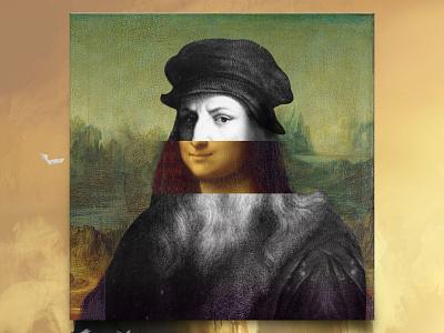 Leonardo da Vinci portrait painting retro design retro vintage design vintage vintage art swap face swap dribbble youtube thumbnail adobe photoshop photoshop art artist digital art photo editing photoshop da vinci mona lisa