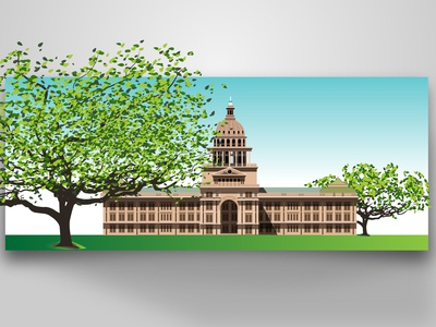 Texas State Capitol Vector Illustration By Designrar