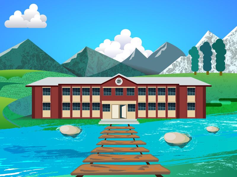 Vector Landscape Illustration - Hazara University Battagram