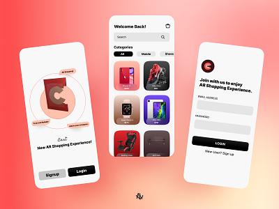 AR Shopping App (cARt) 🛍 appui mobileui mobile ecommerce shopping home login mobileapp