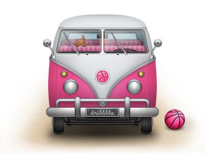 Dribbble Bus dribbble bus pink icon