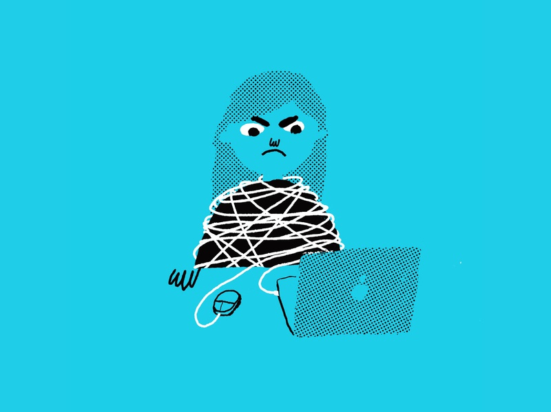 Tied up with work! ink drawing digital halftone two color angry computer laptop work tangled tied up editorial texture line simple illustration