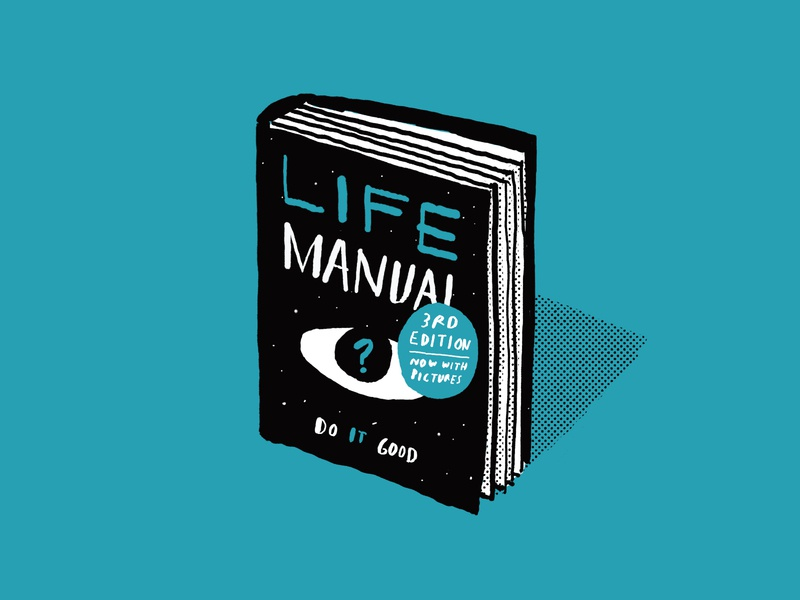 Life Manual manual lettering ink digital editorial book halftone simple illustration