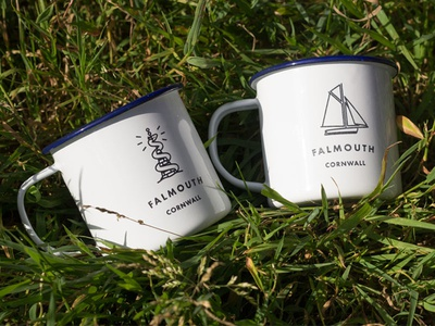 Falmouth Enamel Mugs cornwall falmouth illustration working boat blackrock simple monster morgawr mug laser etched enamel