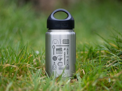 Bespoke Klean Kanteen stainless steel outdoors laser etched illustration klean kanteen