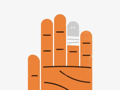 Dead Finger illustration simple texture gravestone finger hand bouldering climbing