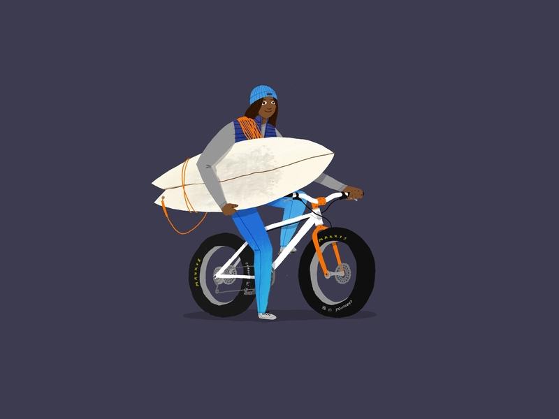 Adventure! climber mountain bike surf board adventure illustration
