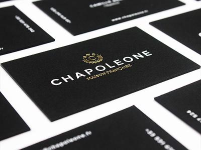 Chapoleone print letterpress fashion hats business card gold foil logo branding