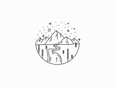 Escape ride illustration stars pine escape mountain logo