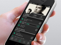 Fewernotes Music Sharing App Profile Page Mock Up