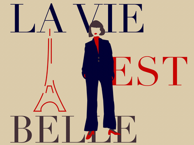 La parisienne girl french illustration web flat minimal design