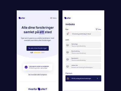 Ofer - Your digital insurance friend adobe xd adobe ux design dribbble webdesign design ui design app design adobexd ui