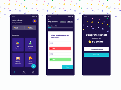 Quiz app quiz home screen results ui design dark mobile game quiz app
