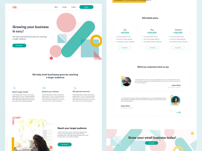 Landing page concept web design pastel saas pricing page saas small business landing page pattern memphis design