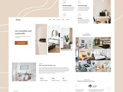 Portfolio concept for Interior decorator landing page web design brown interior