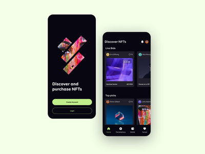 NFT Marketplace app onboarding home ui design crypto dark theme app nft marketplace] nft