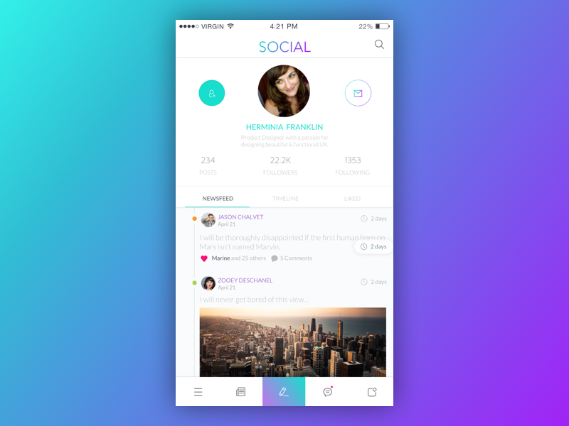 Daily UI #006 User Profile social ux userinterface user ui profile dailyui dailychallenge app