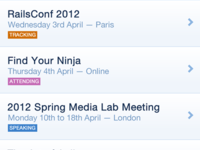 Your Events iphone listing