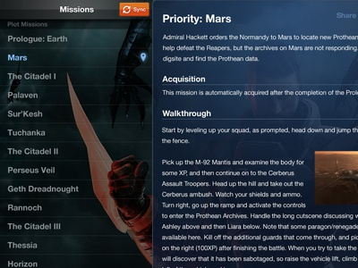 Mass Effect 3 Gaming Guide Concept ipad tablet guide nav sync reader